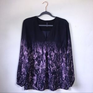 NYDJ Purple Ombre Patterned Long Sleeve Blouse, L